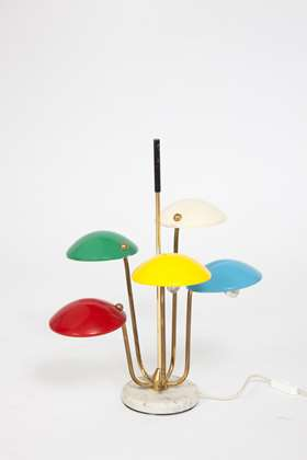 Table light with multi-coloured shades