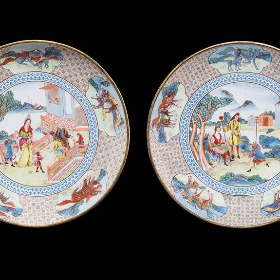 Pair of Painted Enamel on Copper large saucer dishes, with European subject