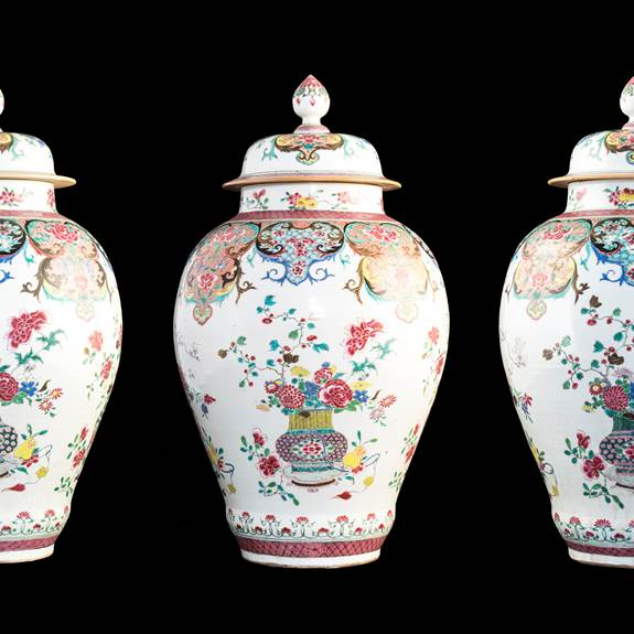 Set of three Chinese export porcelain famille rose vases & covers