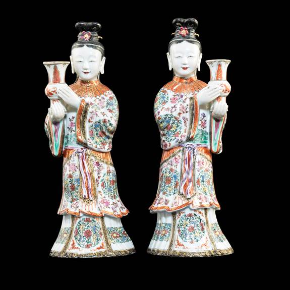 Pair of Chinese export porclain famille rose figures of ladies