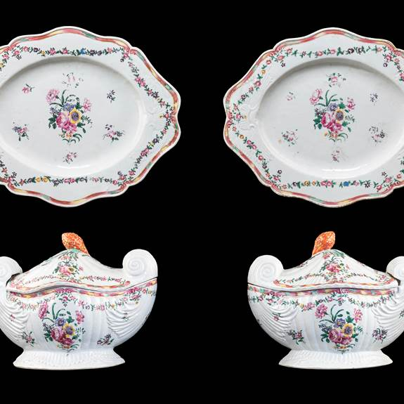Pair of Chinese export prcelain famille rose scroll-end tureens, covers & stands