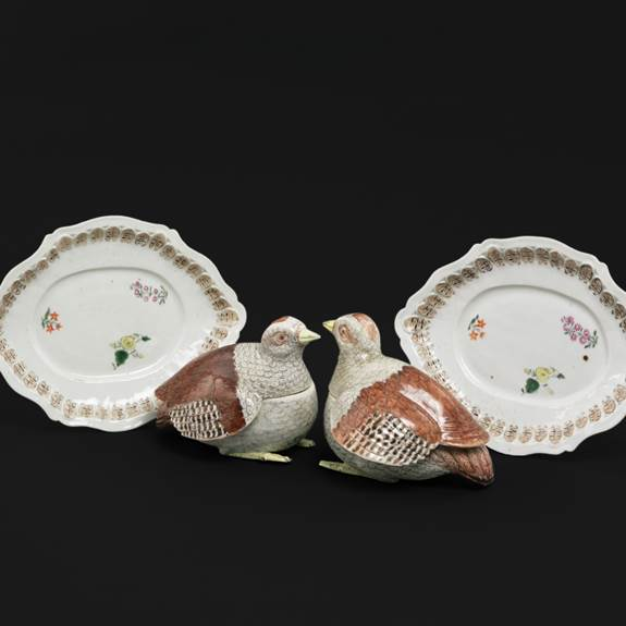 pair of chinese export porcelain partridges tureens