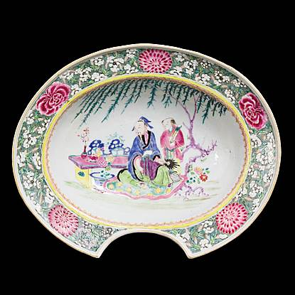 chinese export porcelain famille rose barbers bowl