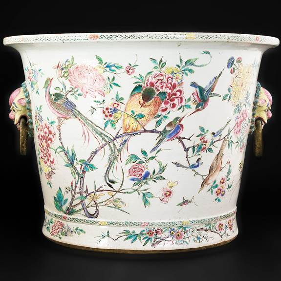 massive chinese porcelain famille rose fishtank, yongzheng