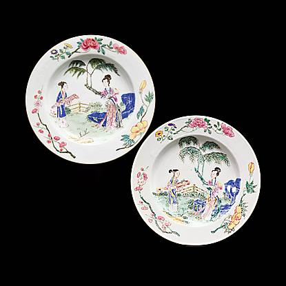 pair of chinese export porcelain famille rose plates