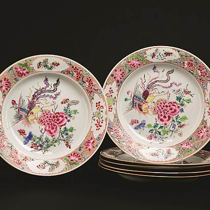 set of 6 chinese export famille rose dinner plates