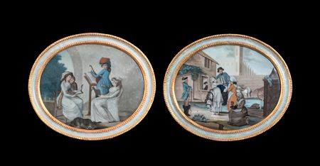 pair of Chinese export reverse glass paintings