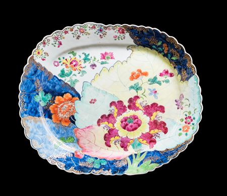 Chinese Export porcelain famille rose meat dish with the tobacco-leaf pattern