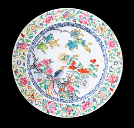 Chinese painted enamel on copper basin