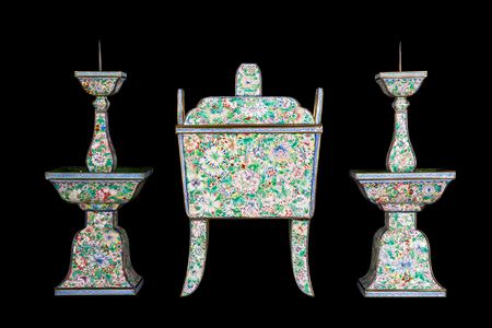 Chinese painted enamel on copper altar garniture
