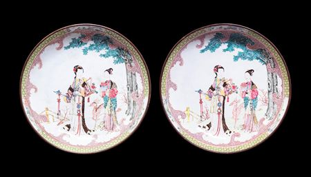 Pair of Chinese Painted Enamel on Copper saucer dishes