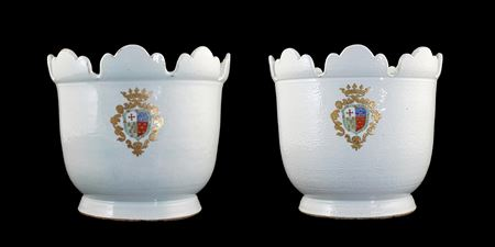 Pair of large Chinese armorial porcelain monteiths with the arms of  Pinto Pereira