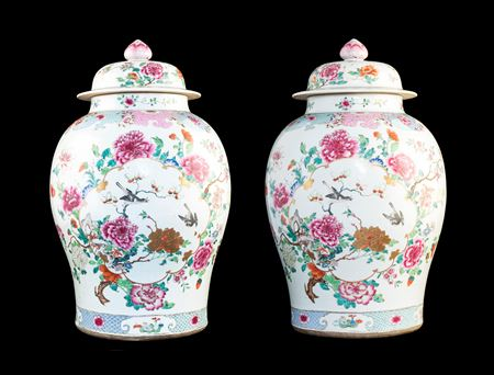 Pair of Chinese export porcelain famille rose baluster vases and covers, 26 inches high