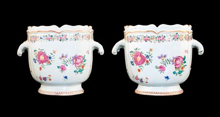 Pair of Chinese Export porcelain famille rose Winecoolers