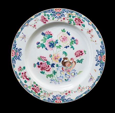 Massive Chinese export porcelain famille rose Charger with Mandarin ducks