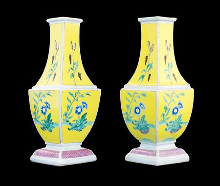 Very Rare pair of Chinese yellow ground bottle vases from the 'Pronk' workshop