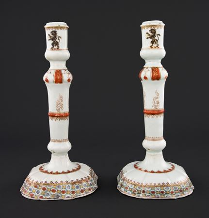 Pair of Chinese export porcelain Armorial Candlesticks, Arms of Chase