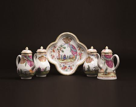 Chinese export porcelain famille rose cruet set and tray with the valentine pattern