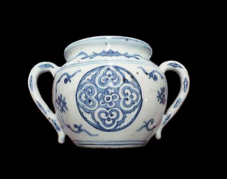 Chinese porcelain blue and white jar with Jesuit mark to base
