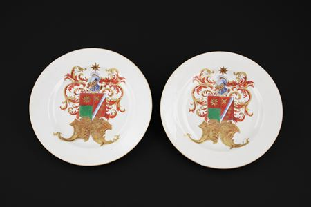 pair of chinese export porcelain armorial plates
