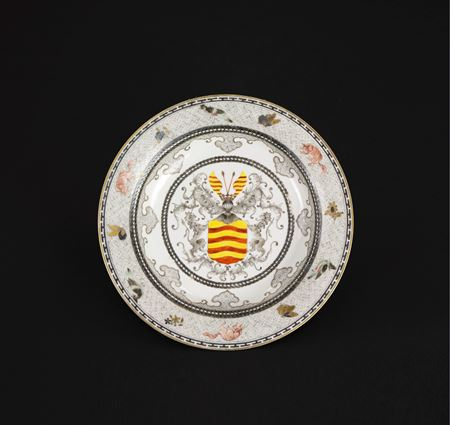 sold:  chinese export porcelain eggshell armorial plate