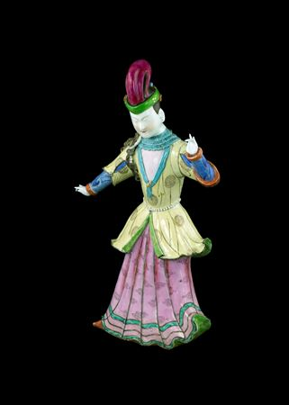 famille rose figure of a Turkish dancer
