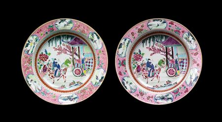 pair of chinese export porcelain famille rose basins