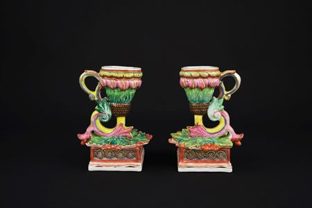 Pair of chinese export porcelain Chamber Sticks