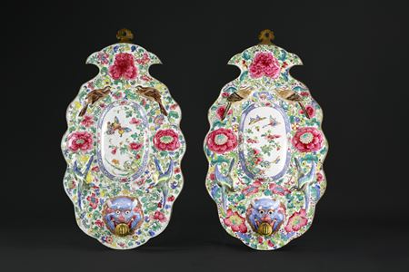 Sold: canton painted enamel pair of wall sconces