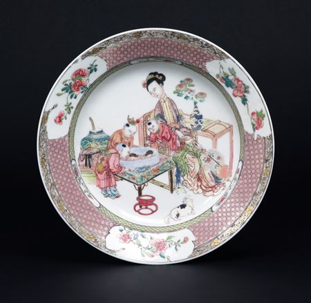 sold: chinese eggshell porcelain famille rose soup plate
