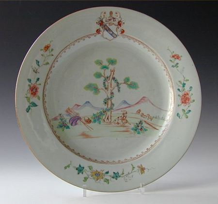 chinese export porcelain armorial Charger, arms of Hesketh