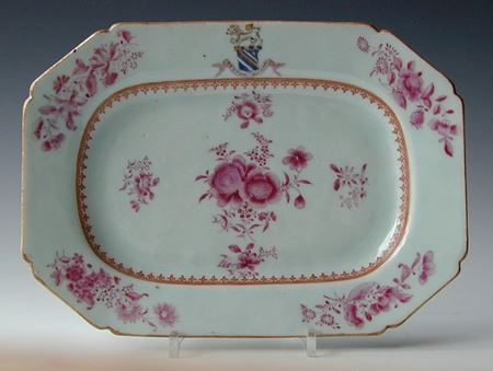 chinese export porcelain ARMORIAL MEAT DISH, arms of fortescue