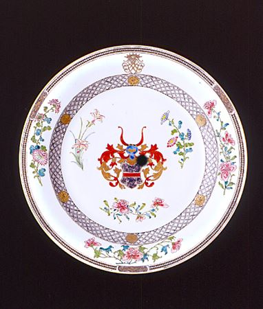 chinese export porcelain famille rose armorial charger