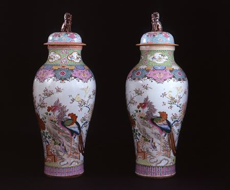 A MASSIVE PAIR OF FAMILLE ROSE VASES AND COVERS