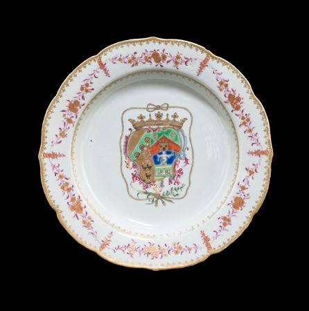 chinese export armorial porcelain soup plate, arms of Bucareli Vallehermoso