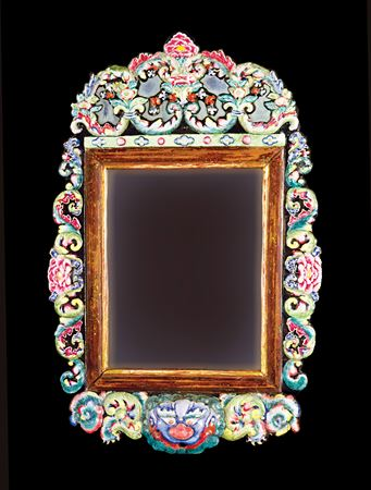 chinese export painted enamel mirror frame