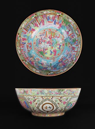chinese export porcelain armorial massive punchbowl, arms of clerke