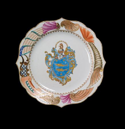 chinese export porcelain armorial plate, guillot