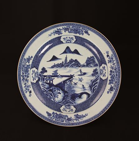 chinese export porcelain blue and white massive charger