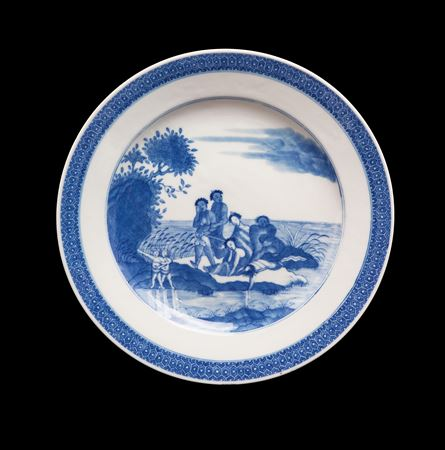 chinese export porcelain european subject blue and white plate