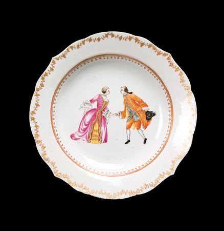 chinese export porcelain european subject soup plate