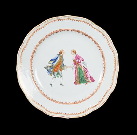 chinese export porcelain famille rose dinner plate with european couple