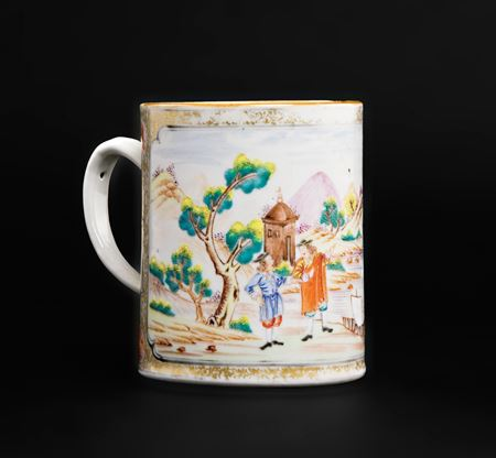 chinese export porcelain famille rose mug, european subject