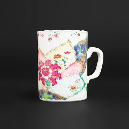 chinese export porcelain famille rose tobacco leaf tankard