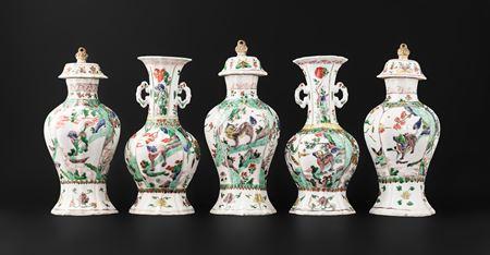 chinese export porcelain famille verte five piece garniture