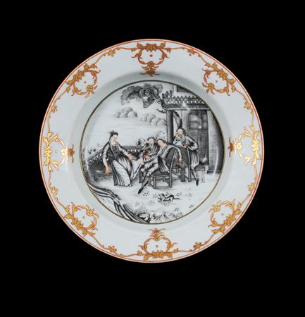 chinese export porcelain plate painted en grisaille with a european subject tavern scene