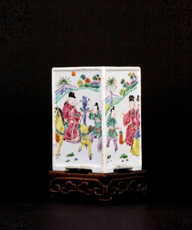 chinese famille rose porcelain brushpot