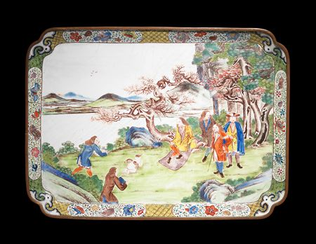 chinese painted enamel on copper European subject tray, canton imperial workshop