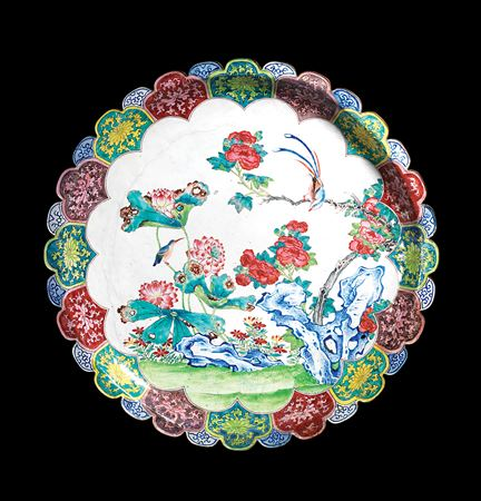 chinese painted enamel on copper large dish