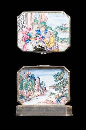 chinese painted enamel snuffbox with european subject